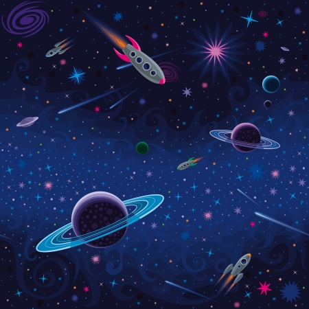 Vector seamless space pattern with various cosmic elements. Illustration