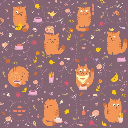 grey cat: Vector seamless pattern with cute and playful cats are eating, hunting, sleeping, dreaming about foods.
