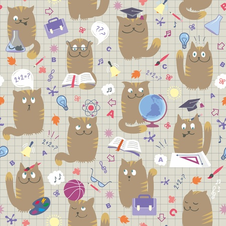 studing: Vector seamless pattern with clever cute cats studing various school subjects.