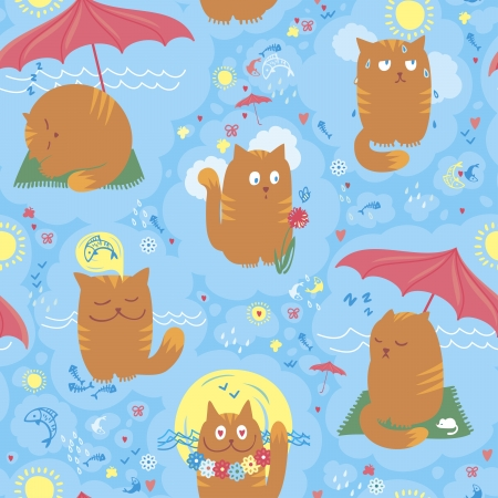 Vector seamless pattern with playful cats on summer holidays. Illustration