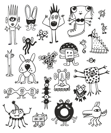 Funny Cute Black And White Monsters Vector