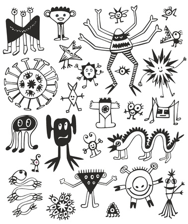 worm snake: Funny Cute Black And White Monsters Illustration