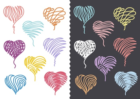 Collection of Hand Drawn Hearts. On white and dark-grey background. Illustration