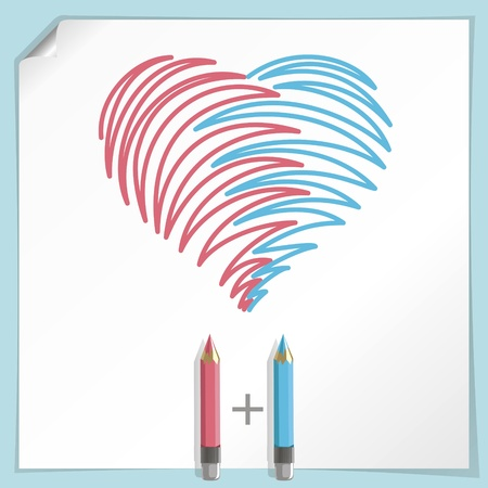 Vector illustration with two color pencils, hand drawn heart. Sheet of paper on background. Layered EPS file.
