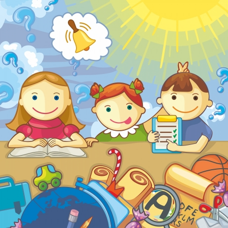 Vector illustration with schoolchildren and school elements. Question marks, sun and clouds on background.