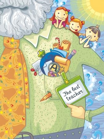 Illustration of teacher, schoolchildren and school elements. With text.