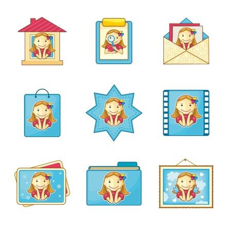 Girl icons set for web menu on white background. Illustration