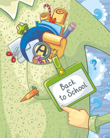 Vector illustration with teacher and school elements. Text: Back to School. Vector