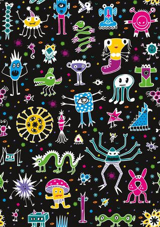 Seamless pattern with cute unusual coloured monsters on black background.