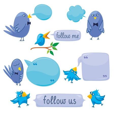 blue birds and speech bubbles with space for your text. Vector