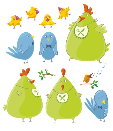 Birds Set. Various caracters. Vector