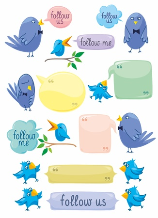 Set of blue birds and speech bubbles with space for your text