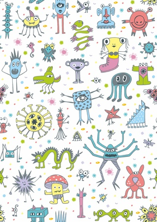 Seamless pattern with cute unusual coloured monsters on white background