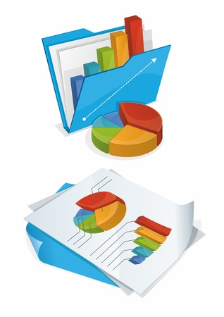 financial statement: illustration of bright colourful charts on paper and in blue folder  Illustration