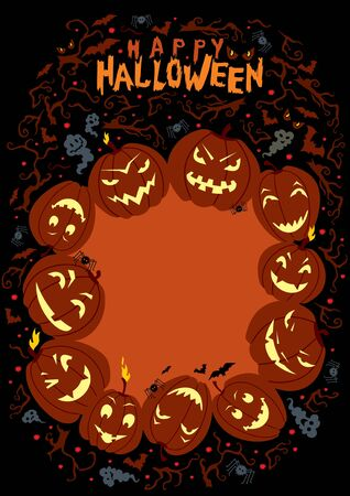 illustration on Halloween theme with space for your text. Handwritten title.
