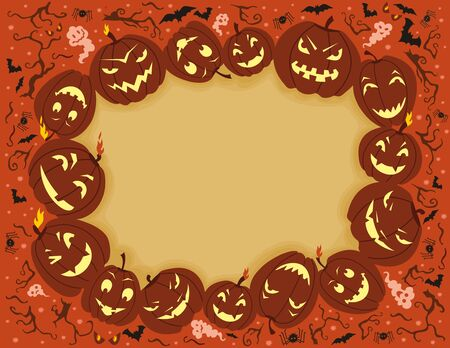 pumpkin face: illustration on Halloween theme with space for your text.