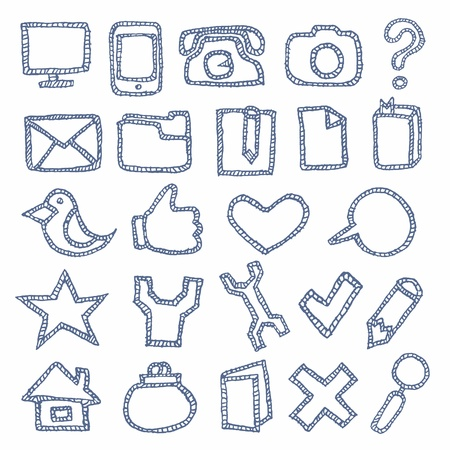 Set of hand drawn and icons for web menu  White background Stock Vector - 15545411