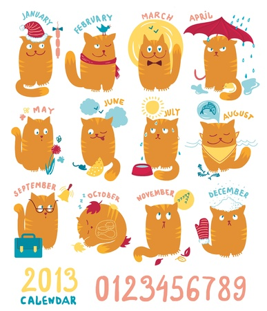 Calendar With Cute Brighrt Cats Illustration