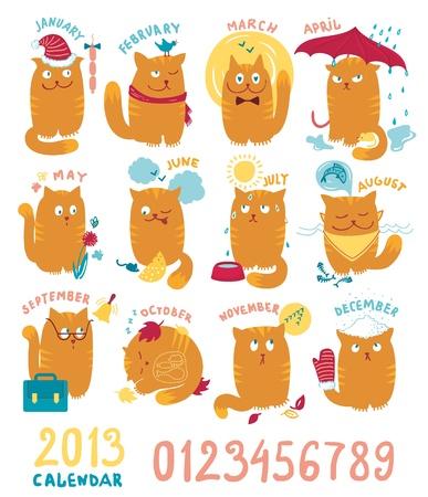 månader: Kalender Med gulliga Brighrt katter