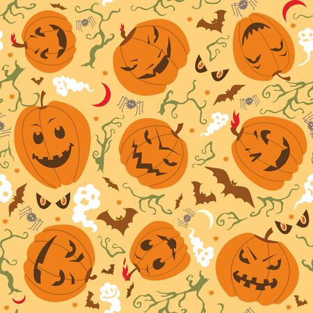 pumpkin face: Vector seamless pattern on Halloween theme. Illustration