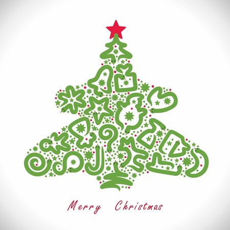 Vector illustration with christmas symbols and snakes inside Christmas tree shape  Illustration
