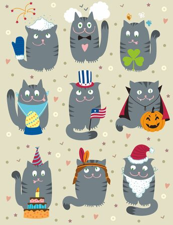 cute cats celebrating holidays set. Vector