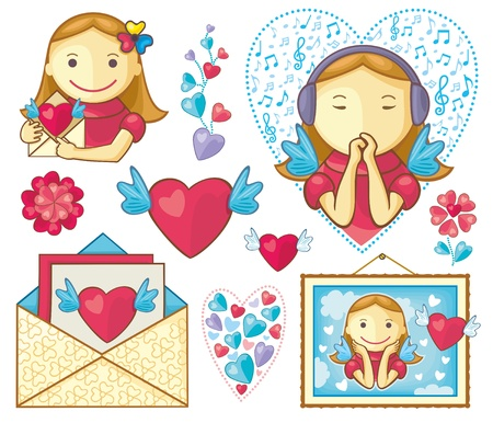 icons and designs on Valentine s theme