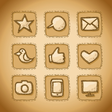 Set of hand drawn and  icons for web menu.