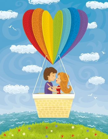 couples outdoors: Young couple flying with heart shaped balloon. Illustration