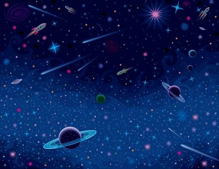 various cosmic elements. Illustration