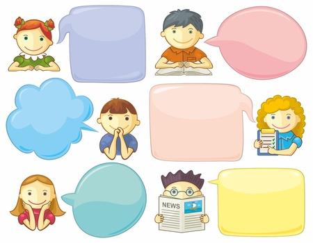 niÑos hablando: Iconos con las burbujas del discurso. Medios de comunicación concepto de comunicación social. Plantillas para web.