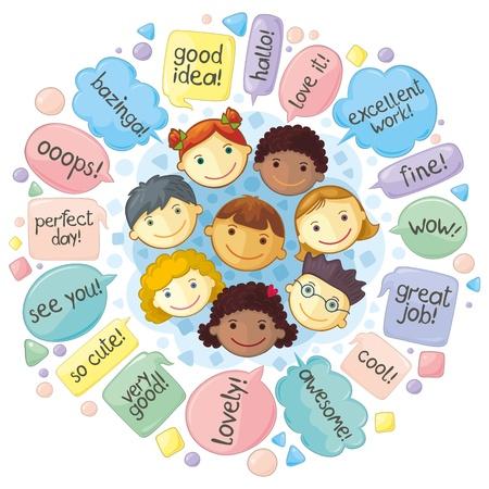 komentář: Cartoon lidé soustředění na komunikace, obec a další. Různé fráze ve balóny řeči. Ručně psaný text.