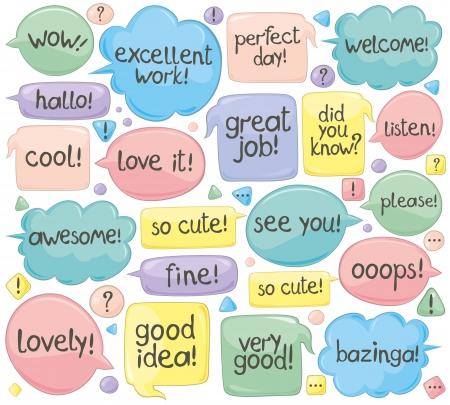 phrases: Conjunto de varias frases en globos de di�logo. Texto escrito a mano.