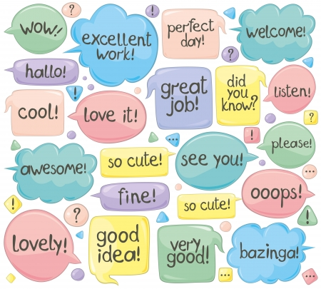 Set of various phrases in speech balloons. Handwritten text.  Illustration