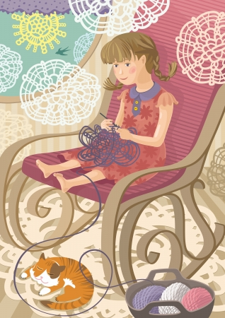 crewel: Vector Illustration of girl sitting and crocheting. Cozy home interior on backround.