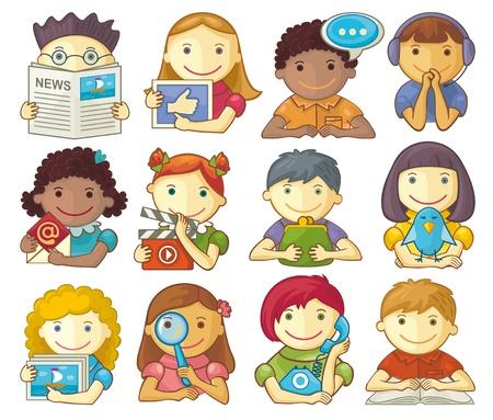 Vector set of smiling characters for categories in presentations, webmenu, design, etc. Illustration