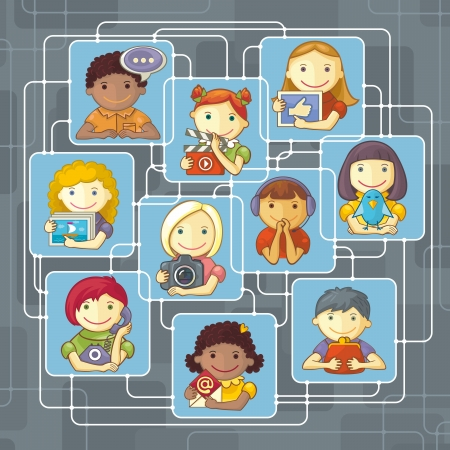 Illustration of group of vaus cartoon characters connected through social network. Stock Vector - 20202536