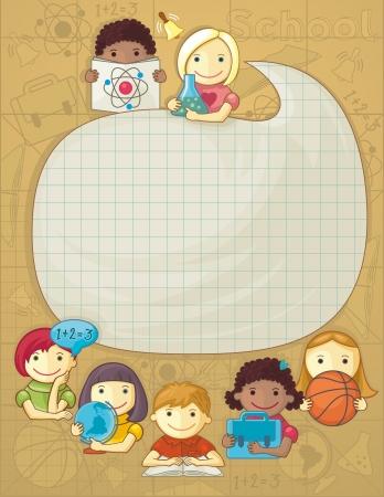niños estudiando: Ilustración con el marco para el texto y el grupo de escolares lindos Vectores