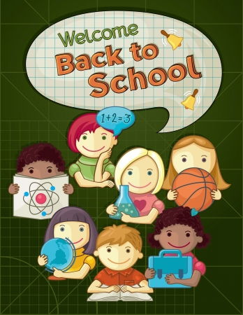 School Concept Illustration With Cute Kids Vector