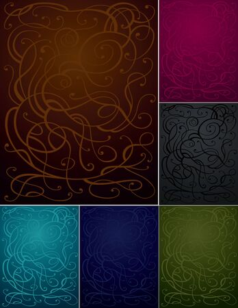 vertical backgrounds set with abstract swirls  Illustration