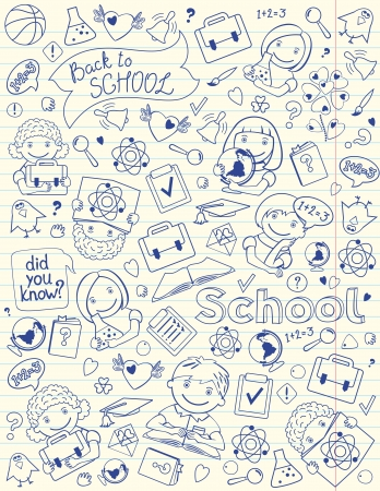 drawed:  Vector vertical background with children and school objects drawed on copybook lined page