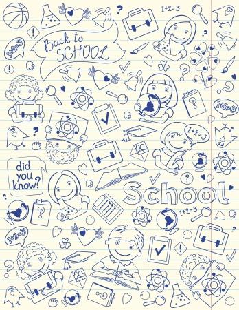 Vector Verticales De Fondo Con Los Niños Y Objetos Escolares Diseñados En Cuaderno Forrado Página