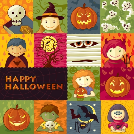 Vector Illustration with cute characters, halloween elements and text  Illustration