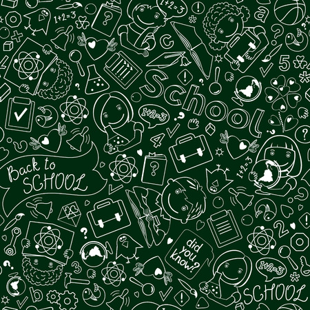 Vector seamless pattern with drawings of children and school objects