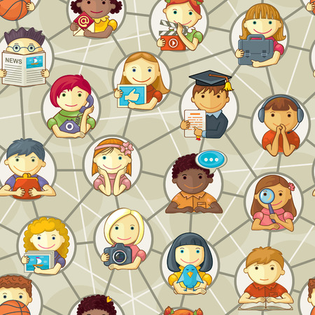 Vector seamless pattern of various cartoon characters connected through social network  Illustration