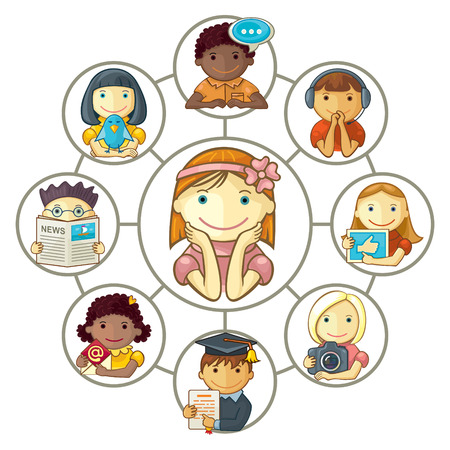 Vector illustration of group of various cartoon characters connected through social network  Illustration
