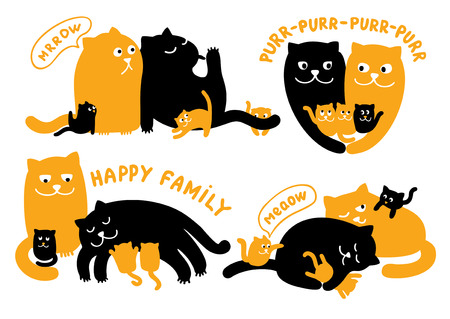 Vector illustrations set of two cats and three kittens  Cute cat family  Vector