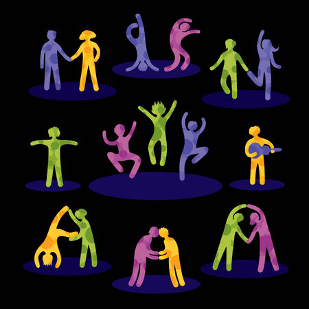 people having fun: Set of bright human icons of people having fun  Black background  Illustration