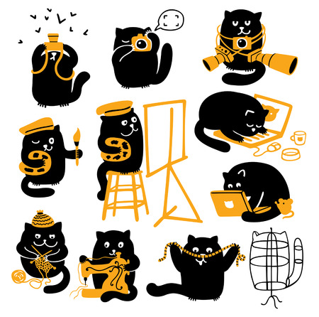 Vector characters set  Black cats with yellow objects  Different creative professions