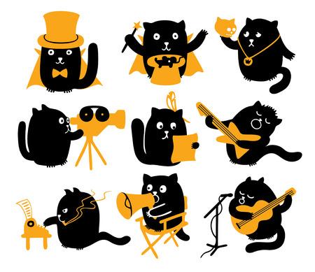 a poet: Caracteres del vector fijadas Gatos negros con los objetos amarillos diferentes profesiones creativas